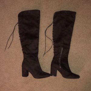 Brown lace back boots